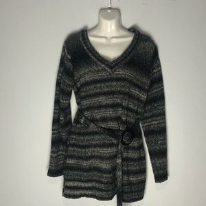 Plus size sweater with belt